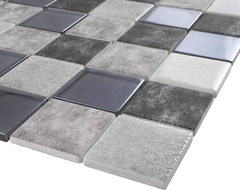 - TREGLG-02 Grey 2x2 Grid Recycle Glass Mosaic Tile Sheet-Kitchen