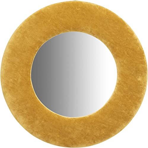 Creative Co-Op Round Wall Mustard Yellow Velvet Frame Reflective Mirrors