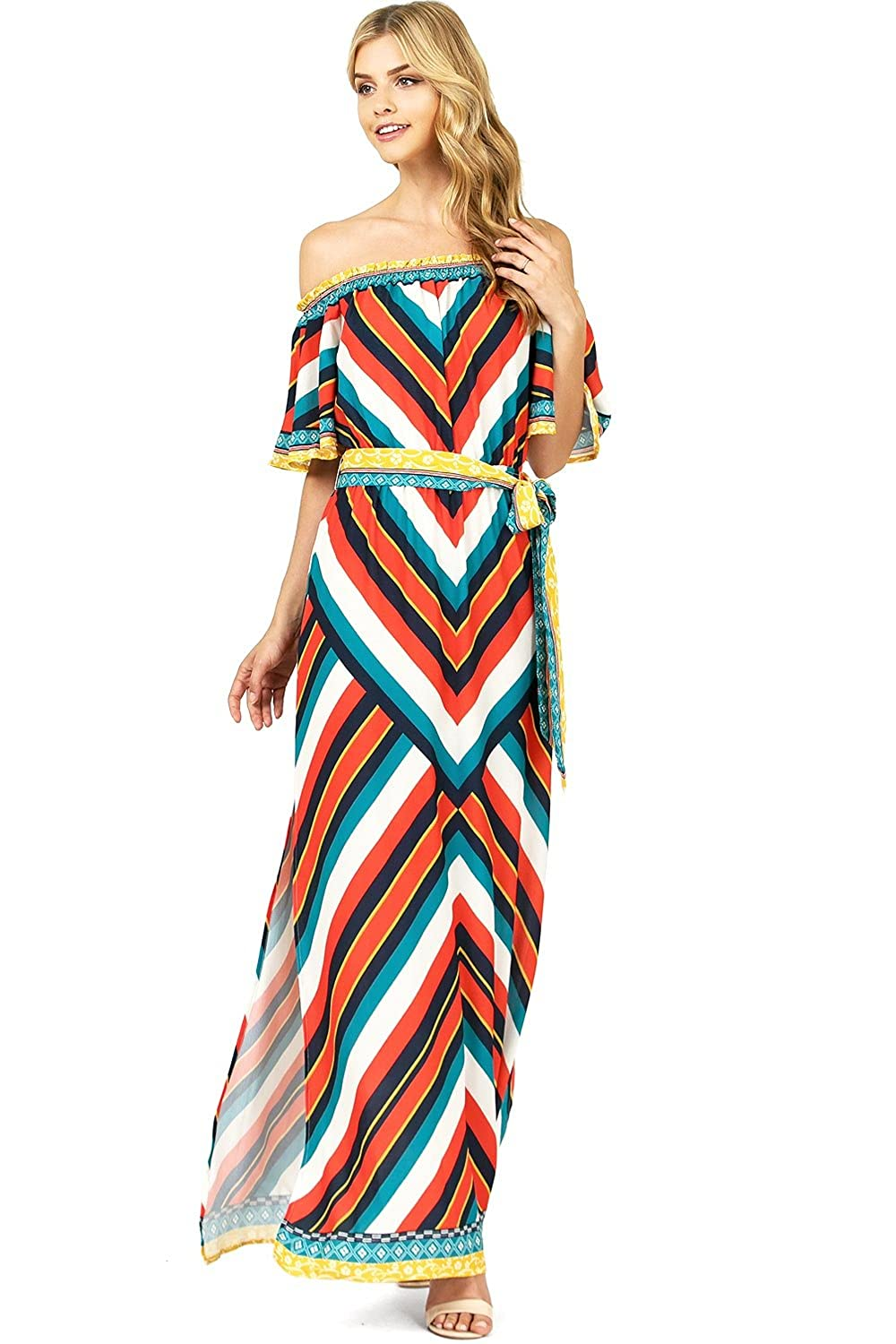 82e5bb0be13d Flying Tomato Women s Off Shoulder Bright Summer Stripes Maxi Dress ...