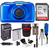 Nikon Coolpix W100 Rugged Digital Camera (Blue) + 32GB Card + Battery with Charger + Floating Strap + Bundle