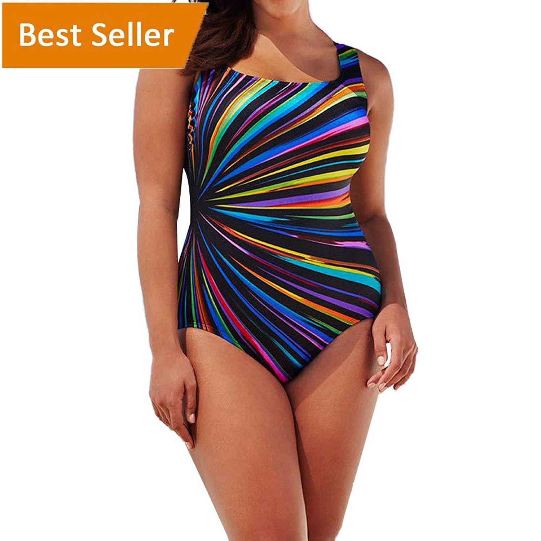 Hotsellhome Women's Plus Size Swimming Costume Padded One Piece Swimsuit Monokini Swimwear Jumpsuit Push up Bikini Sets Bathing Suit