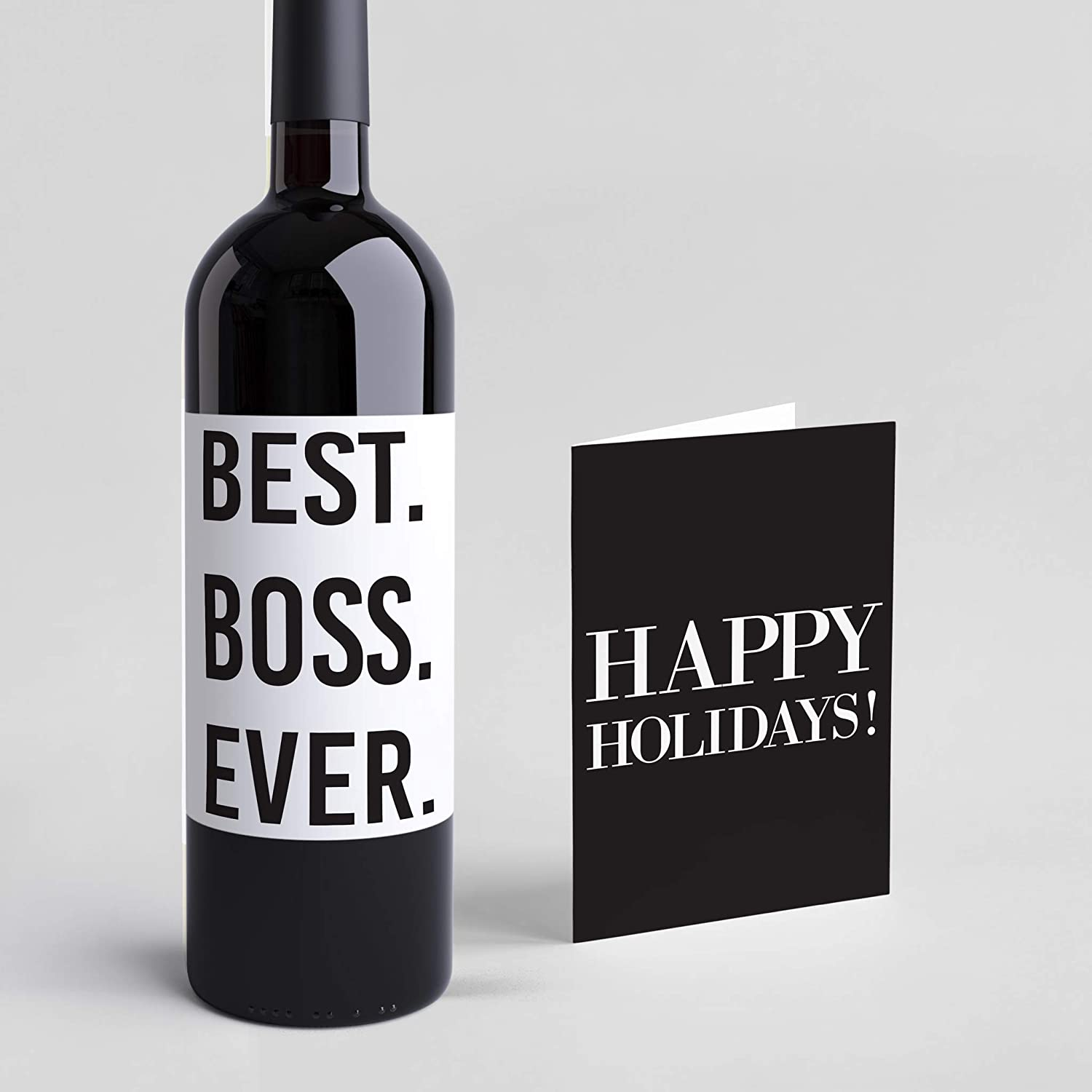 Amazon Com Best Boss Ever Present Holiday Card Wine Label Funny