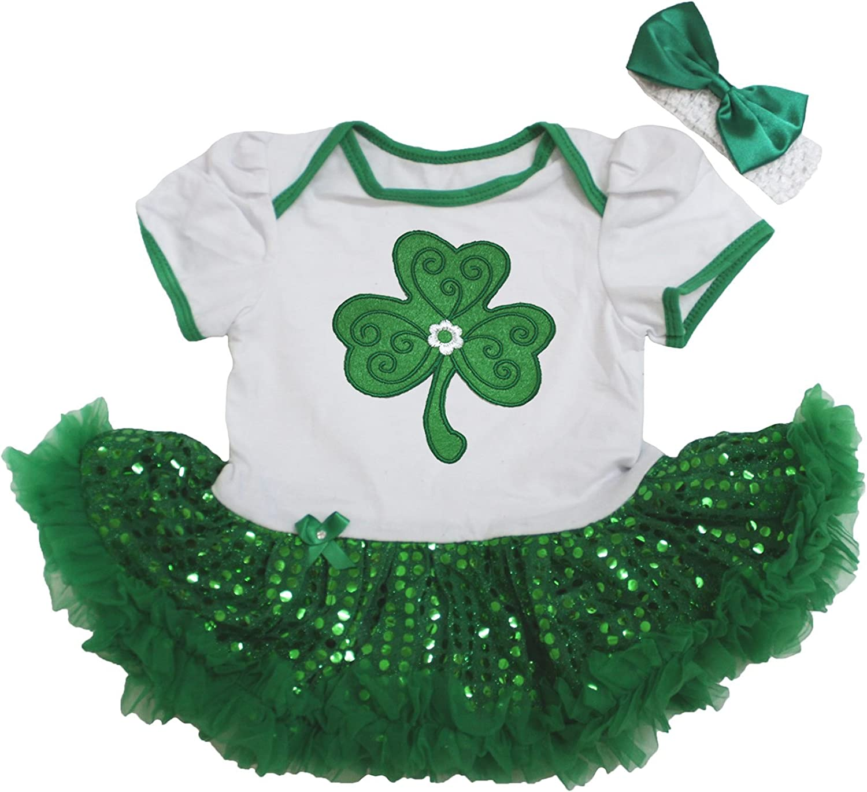 My 1st St.Patty/'s Day Cotton Bodysuit Green Clover Baby Dress NB-18M