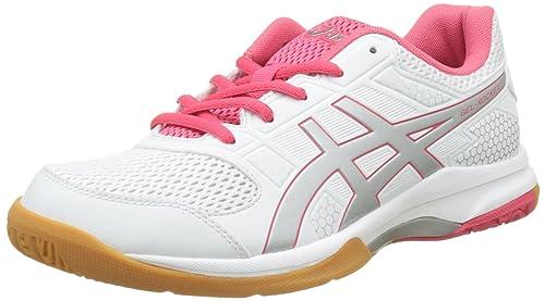 Gel-Rocket 8, Zapatillas de Voleibol para Mujer, Blanco (White/Rouge Red/Silver 0119), 39.5 EU Asics