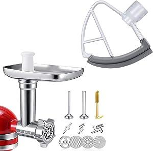 KITOART Food Grinder Attachment & 4.5-5QT Flex Edge Beater for Kitchenaid 4.5-5 QT Tilt Head Stand Mixer