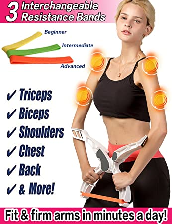 Scarmat Arm Workout Machine System Excerise with 3 System Resistance  Training Bands Fitness Equipment for Women Tones Strengthens Arms Biceps