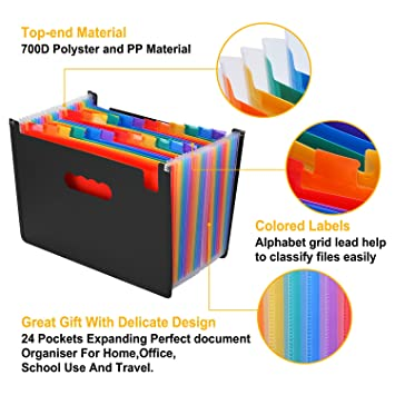 Portable Plastic File Box Works on A4 /& Letter Size AGPtek 24 Pockets Expanding File Folder Large Capacity A4 Document Organizer with Expandable Bottom Stand /& Colored Labels Black