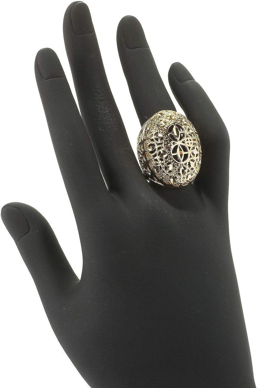 April Venus 18K Gold Plated Elongated /& Domed Filigree Ring