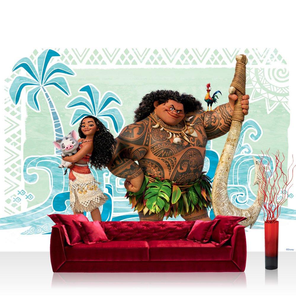 Vlies Fototapete 368x254cm PREMIUM PLUS Wand Foto Tapete Wand Bild Vliestapete - Disney Disney - Vaiana Tapete Vaiana Maui Pua Heihei bunt - no. 3345