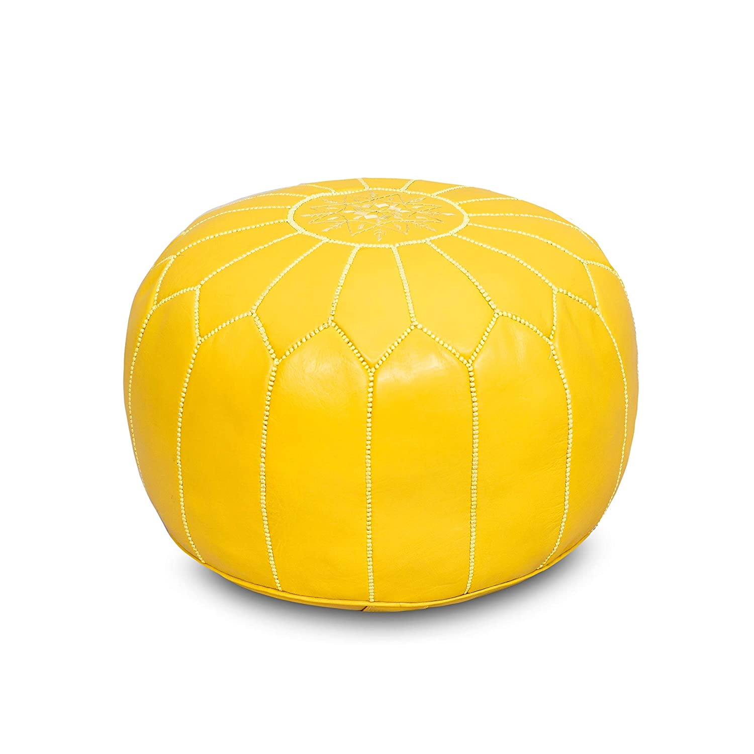 "Eco-Friendly Materials Yellow Authentic Goat Skin Leather Genuine Handmade Moroccan Leather Pouf Bedroom /& Living Room Round Ottoman 20/"" x 20/"" x 14/"" Moroccan Flair"