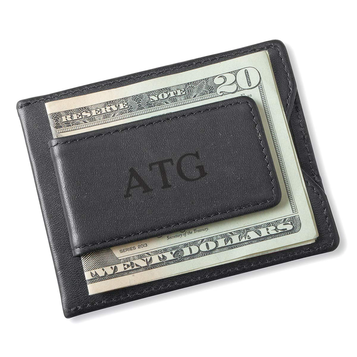 Black Wallet and Money Clip Personalized Wallet Magnetic Money Clip Deboss