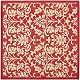 """Safavieh Courtyard Collection CY3416-3707 Red and Natural Indoor/ Outdoor Square Area Rug, 6 feet 7 inches Square (6'7"""" Square)"""