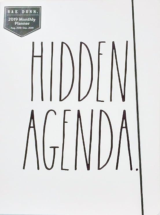 Rae Dunn - Hidden Agenda - 2019 Monthly Planner Calendar (17 Months Aug 2018-Dec 2019) To Do/Notes