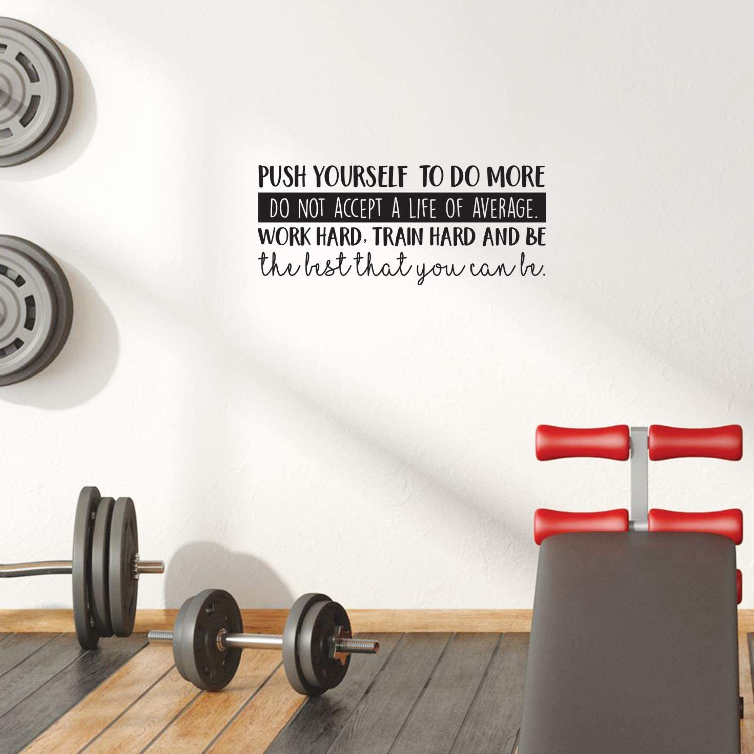 """Vinyl Wall Art Decal - Push Yourself to Do More Do Not Accept A Life of Average - 10.5"""" x 25"""" - Positive Motivational Quote for Gym Fitness Home Workout Bedroom Decoration Sticker (Black)"""