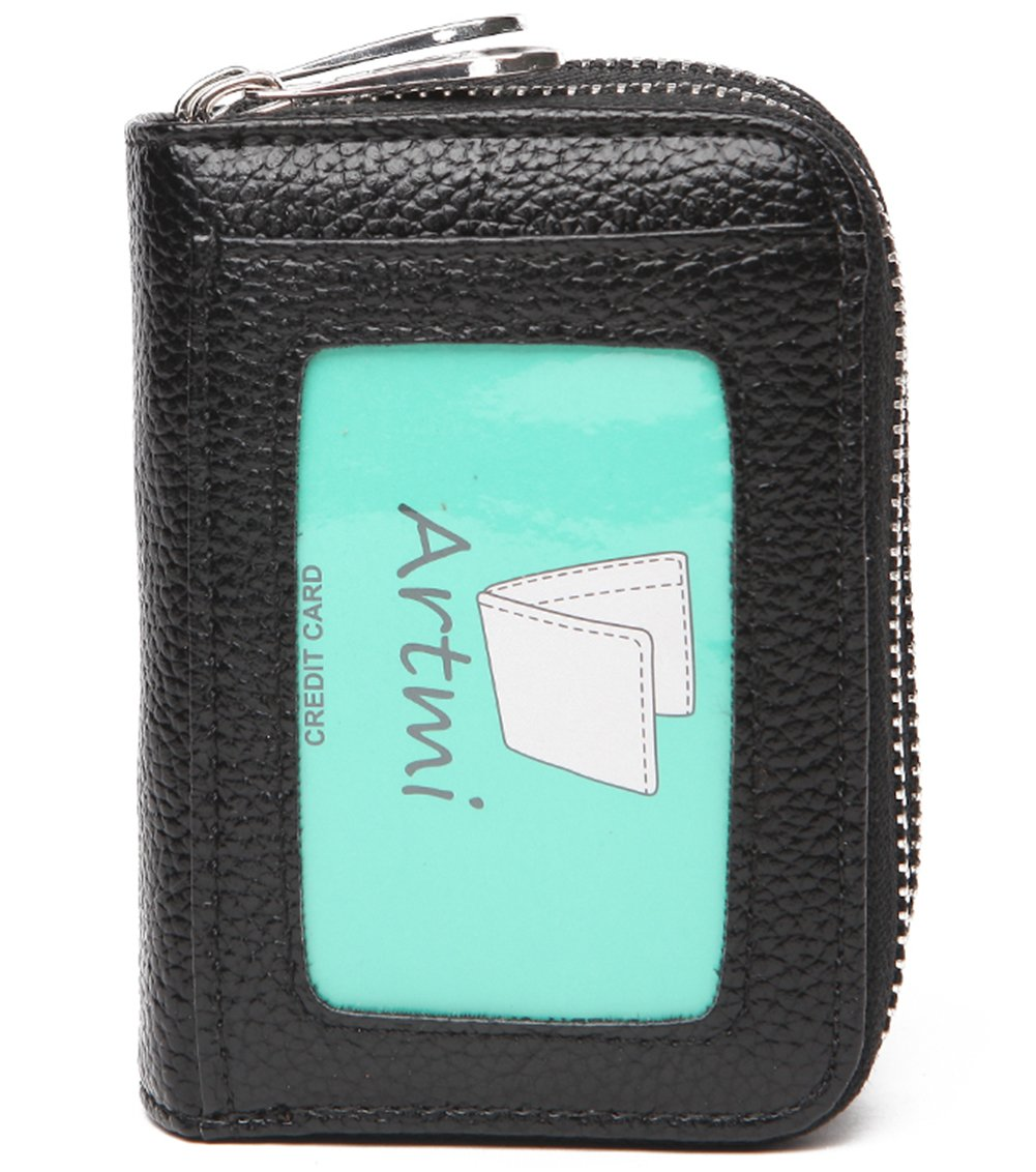 RFID Womens Card Holder Accordion Style Card Case Wallet with keyring (Black)