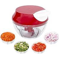 Mini Triturador Processador de alimentos manual alho cebola 3 Lâminas inox 550ml Top, Cor: (Vermelho)