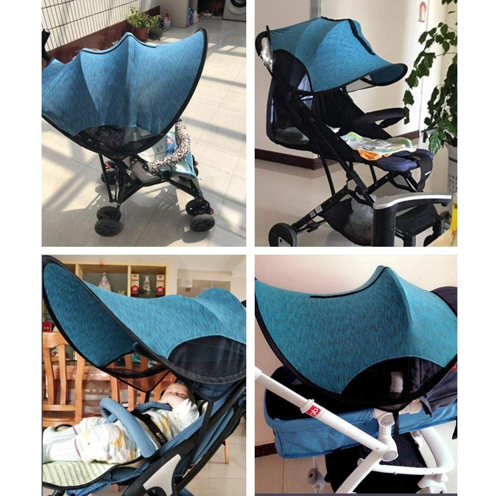 ZLMI Sunshade for Baby Stroller Universal pram pushchairs Buggy Sun Shade Parasol Sunscreen Cover Thickened Steel Wire Strip,Blue by ZLMI (Image #3)