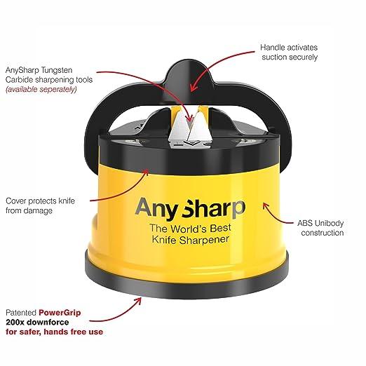 AnySharp Afilador de Cuchillos con Ventosa, Amarillo