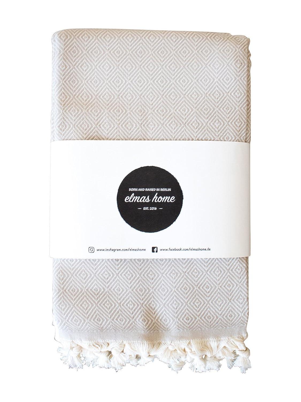 Elmas Home Decke CLASSIC DIAMOND aus 100% Baumwolle - Tagesdecke   Couchdecke   Überwurf - 240 x 200cm XXL (Sand-Beige)