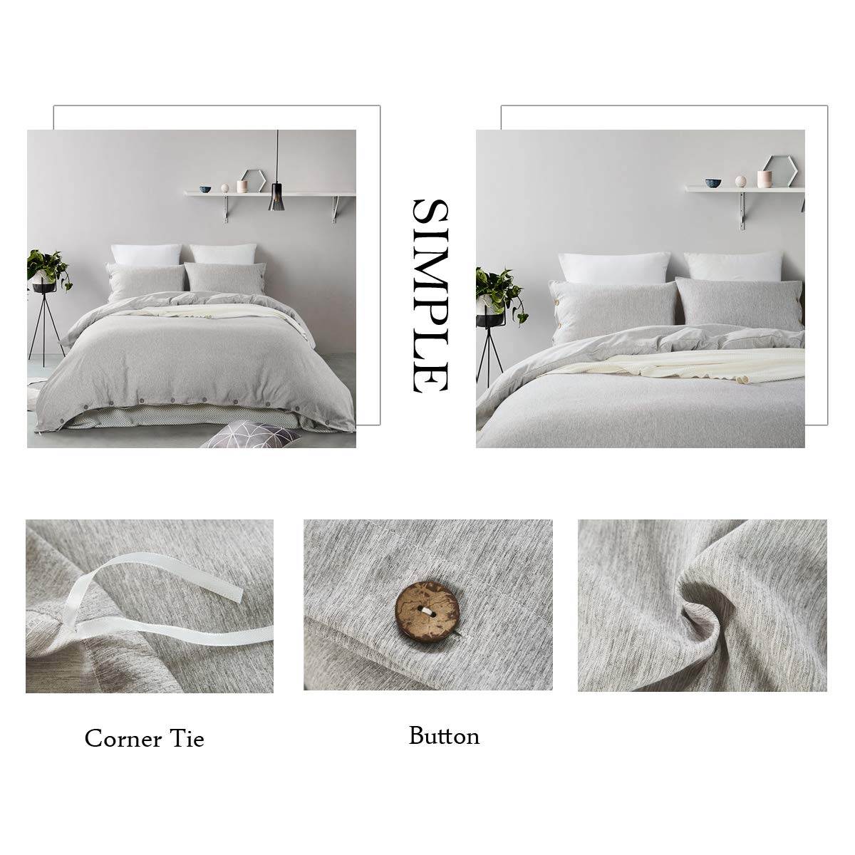Mukka 3 Pieces Grey Heather Cotton Like Chambray Simple Style Coconut Button Closure Duvet Cover Bedding Set King Brushed Luxury & Breathable Microfiber Easy Care Bed Linen by MUKKA (Image #7)