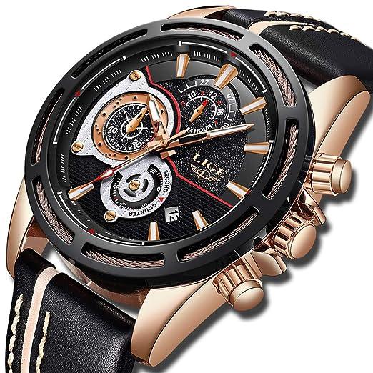 Reloj para Hombre Cronógrafo Impermeable Negro Reloj de Los Hombres de Lujo Marca LIGE Casual Moda Relojes de Deportivo Grande Reloj de Cuero Suave: ...