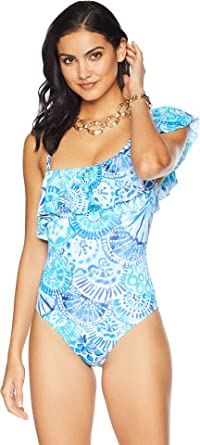 48119158d2 Lilly Pulitzer Women's Tropez One-Piece Swimsuit Turquoise Oasis Half Shell  0