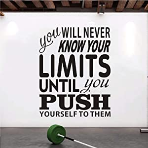 """VODOE Quote Wall Decals, Office Wall Decals, Motivational Gym Inspirational Workout Fitness Sport Classroom School Exercise Home Art Decor Vinyl Stickers Sign You Will Never Know Your Limits 21""""x26.3"""""""