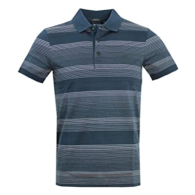 Hugo Boss Men's Paddy Pro 3 Blue Striped Cotton Polo T-Shirt: Clothing