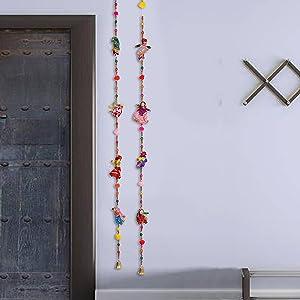 Sawcart Male Female Puppets Kathputli Cloth Wall Hanging Pair Rajasthani Gujarati Traditional Decorative Handicraft Ladi, Latkan for Home, Office Décor, Wall, Window & Main Door