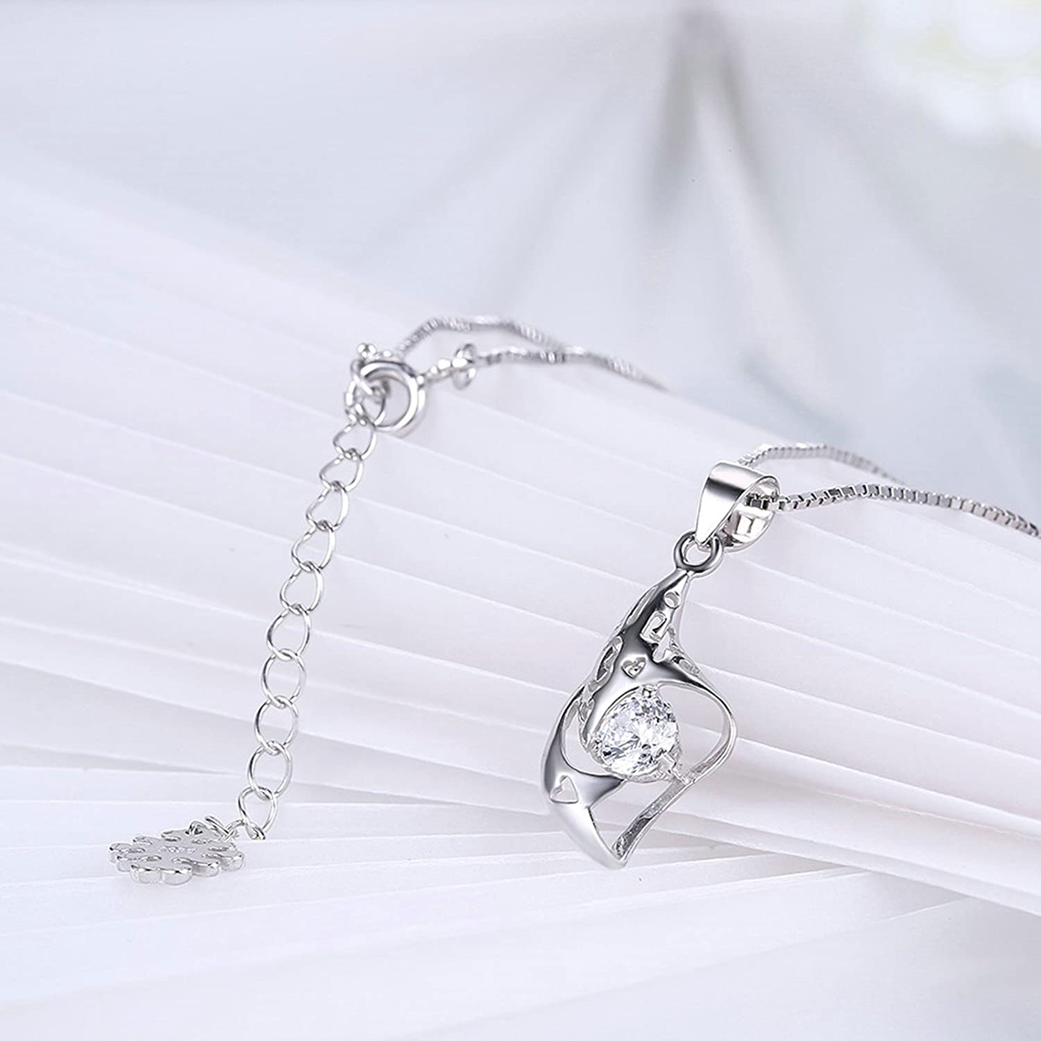 MoAndy Sterling Silver Women Necklace Chain White Length 40+4CM