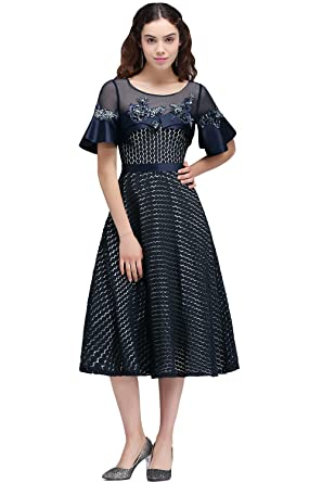Dark Navy Short Applique Sleeve Cap Cocktail Dresses Party Prom Dresses ( Customizable) (S