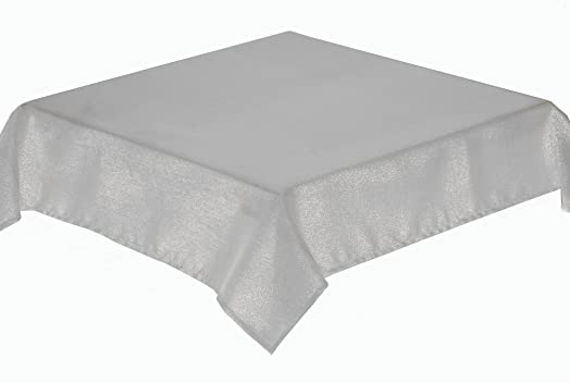 68 INCH ROUND TABLECLOTH, GLITTERAZZI, IDEAL FOR CHRISTMAS, EASYCARE  (SILVER)
