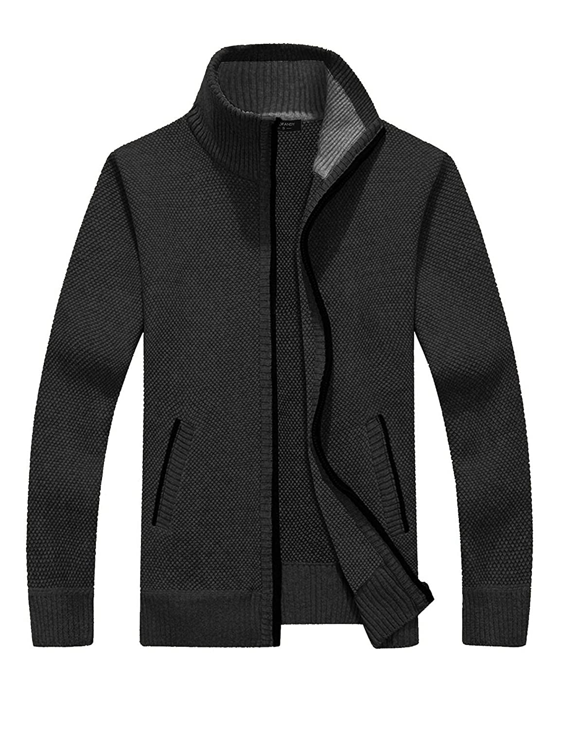 51123511fd127 COOFANDY Mens Full Zip Up Sweaters Lightweight Casual Slim Fit Cardigan  with Pockets at Amazon Men s Clothing store