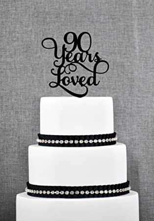 Amazon 90 Years Loved Classy Script 90th Birthday Cake Topper