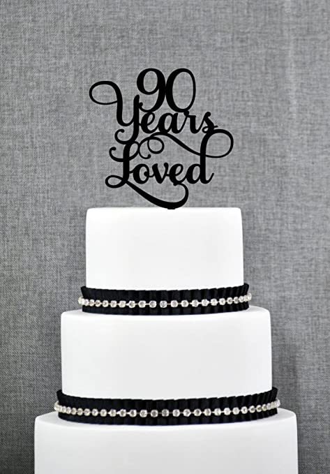 90 Years Loved Classy Script 90th Birthday Cake Topper Elegant Ninetieth Amazoncouk Kitchen Home