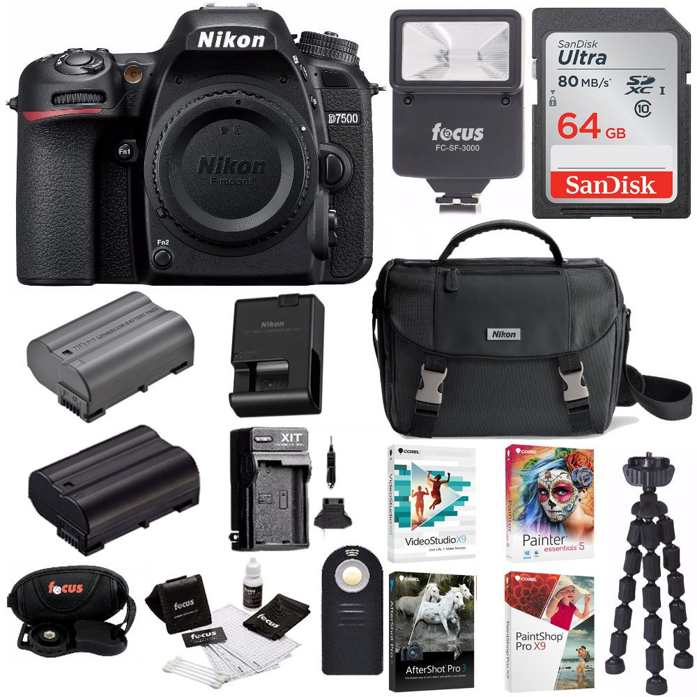 Nikon D7500 DSLR Camera Body Bag + 64GB Memory Card + Flash + Battery and Charger + Software Suite + Kit