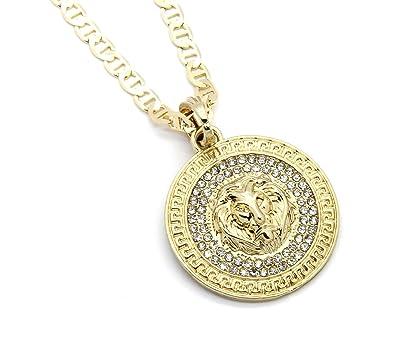 Mens medallion pattern lion gold tone 4mm 24 mariner chain mens medallion pattern lion gold tone 4mm 24quot mariner chain pendant necklace mozeypictures Choice Image