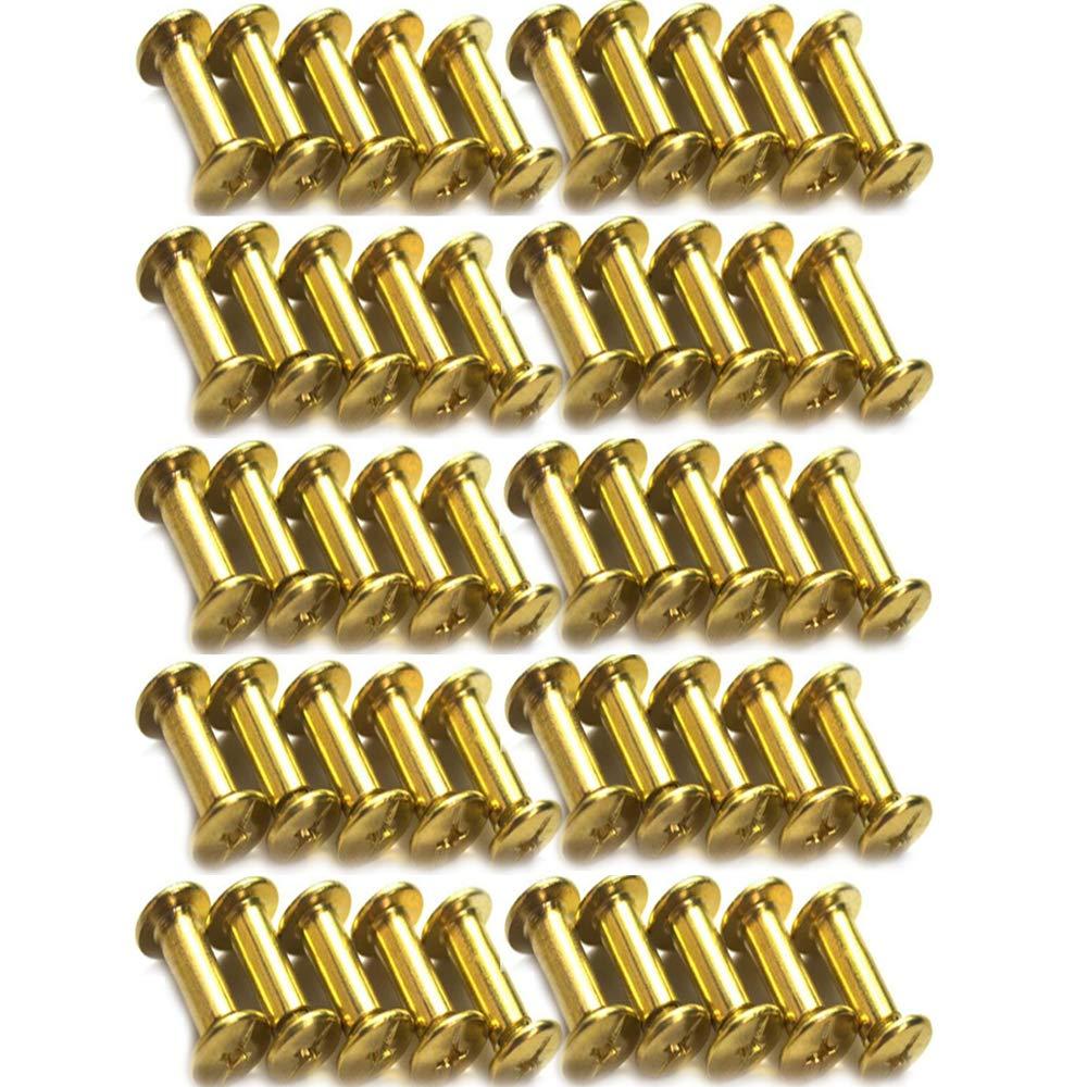 Xinlie 50 PCS Tornillo de Cuero de Encuadernaci/ón Tornillo de Chicago Acero Niquelado Remache Cabeza de Cruz Redondo Botones Clavo Perno del boton macizo de arco Clavos de Tornillo M5x15mm C