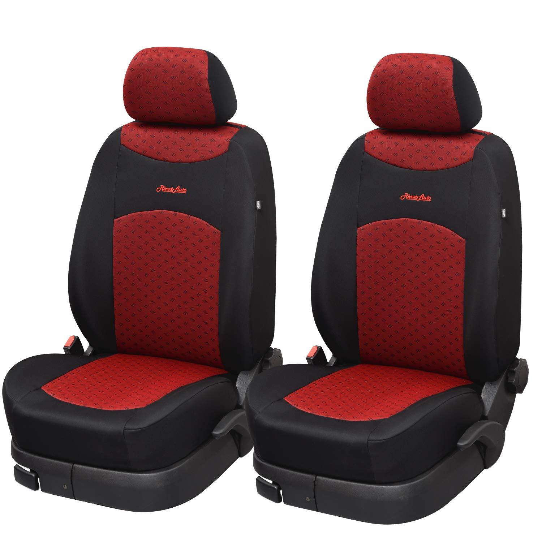 JOYSTART-Cotone Rosso Prodotto Artigianale Made in Italy Tessuto indemagliabile Lavaggio e Luce Super Resistente a Usura 2 Copri poggiatesta Coprisedili Auto Universali Coppia Anteriori