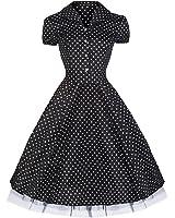 Pretty Kitty Fashion 50s Polka Dot Schwarz Weiß Cocktail Kleid - JETZT bis Größe 52