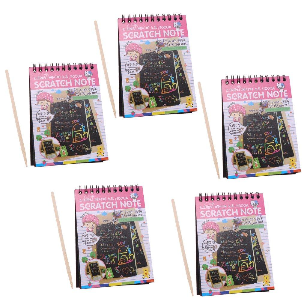 Baoblaze 5 Pieces Rainbow Scratch Pad Kawaii Children's Craft Scratch Book DIY Sketchbooks for Fun - Pink by Baoblaze (Image #1)