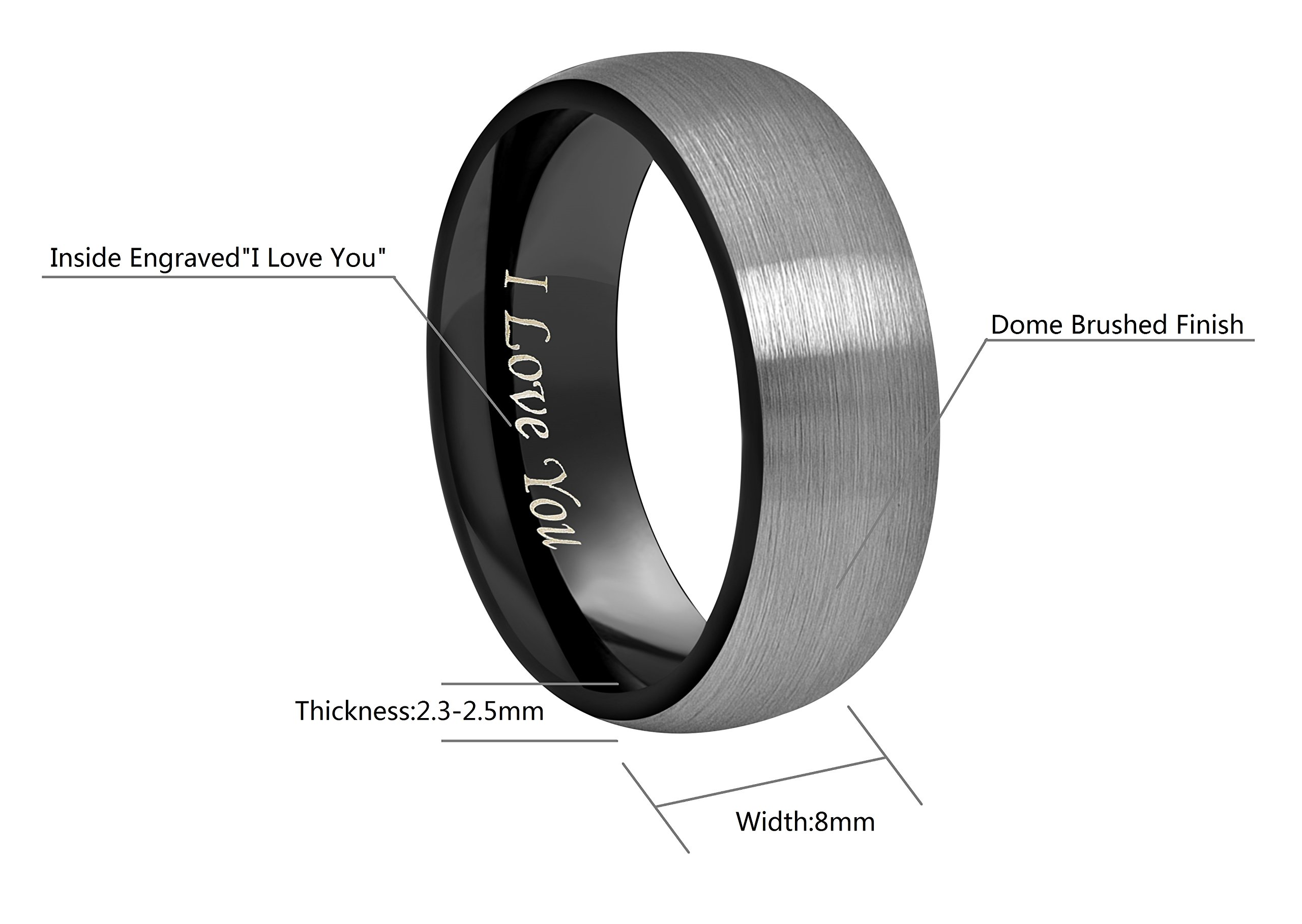 CROWNAL 4mm 6mm 8mm Black Tungsten Couple Wedding Bands Rings Men Women Dome Brushed Finish Engraved I Love You Size 3.5 To 17 (8mm,12) by CROWNAL (Image #3)