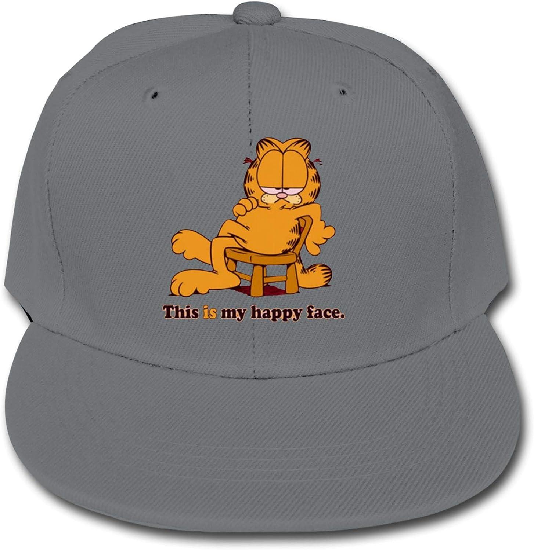 Garfield Children's Cotton Baseball Caps, Adjustable Flat Cap, Solid Color Baseball Cap Black