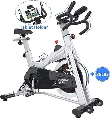 SNODE - Bicicleta estática de Ciclismo para Interiores con Correa de Alta Capacidad de Peso, Soporte para Tableta, Monitor LCD para Entrenamiento Profesional de Cardio, Modelo 8729 Power One 2019: Amazon.es: Deportes