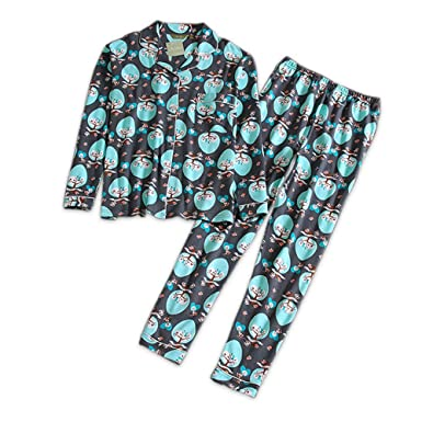 d817e25cc Meaeo 100% Cotton Pajamas Sets Womens Cute Cartoon Print Black Simple  Pyjamas for Women Sleepwear