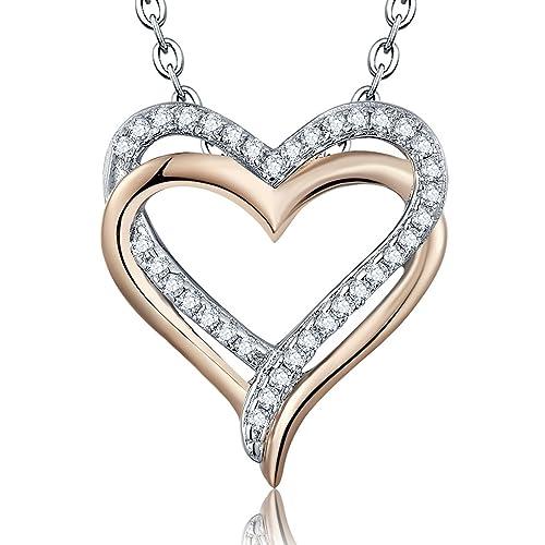 68409448d8e0 YL bañado en Oro Rosa Plata de Ley Circonita Doble Love Corazón Colgante  Collar 20  quot