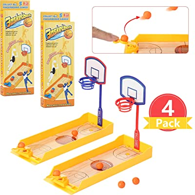 4 Sets Finger Basketball Shooting Game Mini Desktop Table Basketball Game Mini Handheld Sport Basketball Toy with Basketball Court for Funny Sports Novelty Party Favor Gift: Toys & Games