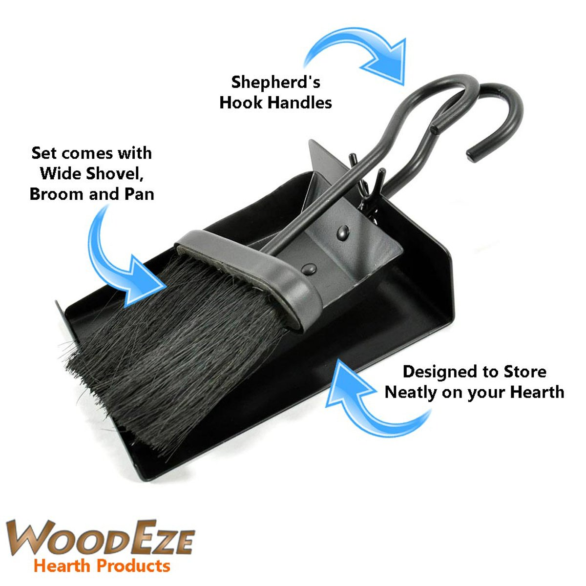 amazon com woodeze ft6001ba fireplace shovel and brush set with