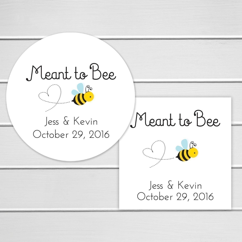 Amazon.com: Meant to Bee Wedding Favor Stickers, Honey Jar Stickers ...