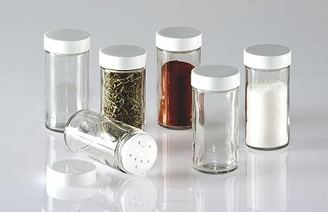 Amazoncom Glass Spice Jars Set of Six Glass Spice Bottles